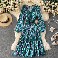 Heeylace vintage en v cuello delgado otoño floral estampado largo vestido de encaje remiendo ruffles fiesta corbata mujeres elegante túnica playa vestidos casuales