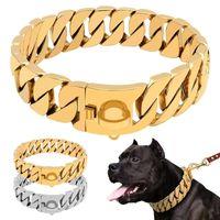 Güçlü Metal Köpek Zincir Yaka Paslanmaz Çelik Pet Eğitim Boğazı Yaka Büyük Köpekler Pitbull Bulldog Gümüş Gold Gösterisi Yaka LJ201113