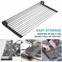 Foldable Dish Drying Rack Kitchen Silicone Roll Up Drainer Sink Stainless Steel Fruit Vegetable Organizer Tray Gadgets