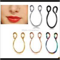 & Studs Drop Delivery 2021 Stainless Steel Nose Fake Septum Rings Hoop Nostril Piercing Tragus Earring Body Piercings Jewelry 100Pcs 5 Color