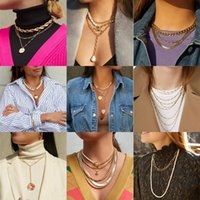Boho Gold Gothic Pearl Statement Necklace Long Twist Chains Heart Beads Chocker Women Layered Pendant Gifts