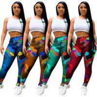Kamuflaj Streç Orta Bel Sweatpants Kadınlar için Güz Giyim Moda Streetwear Bodycon Kalem Pantolon Düğme Pantolon Kadın Capris