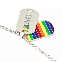 Rainbow Pendentif Colliers Love Double Deck Chaîne Alliage Argent Placant Homme Dazzle Blade Charms Trinkets Rectangle Bijoux Mode 4 5FSA L2