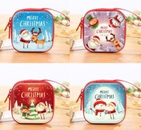 Christmas Coin Purse Mini Wallet Portable Candy Pouch Bag Xmas gift Favor Zipper Carrying case for Keys Cash Headset colorful round square O