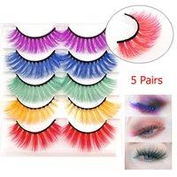 False Eyelashes 5 Pairs 3D Imitation Mink Lashes Wholesale Natural Long Thick Fluffy Colorful Lash Extension Supplies Makeup