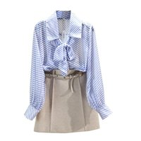 Striped Shirt For Woman 2021 Spring Loose Puff Sleeve Bow Ribbon Lapel Collar Blouse Office Lady Tops Women's Blouses & Shirts