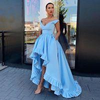 Sexy V-neck Light Blue Evening Gown Unique Design Skirt Prom Dress for Special Occasions Custom Made