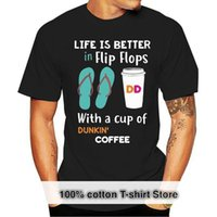 Men's T-Shirts Life Is Better In Flip Flops With A Cup Of Dunkin Donuts Coffee T-Shirt