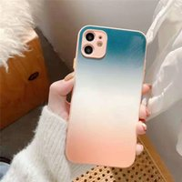 Gradient rainbow tempered glass phone cases for iPhone 12 11 pro promax X XS Max 7 8 Plus case cover