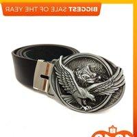 Designer high quality Black pu Leather men with eagle belt metal Western cowboy big buckle belts for jeans J1223