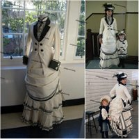 Historical Civil War Southern Evening Formal Dresses with Long Sleeve Black White Victorian lady's Edwardian Lace-up Coat+Skirt bustle Prom Gowns