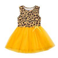 INS Baby Girl Vestido Bow Tutu Tutu Leopardo brillante Remiendo amarillo Patchwork Chaleco sin mangas Granadina para la fiesta Boutique