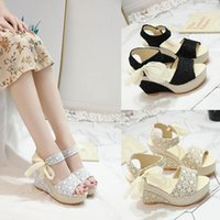 Dress Shoes 2021 Summer Version Of The Korean Frosted Slope With Fish Mouth High Heel Lace Bow Peep Toe Sandals