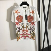 402 2021 Milan Pist T Gömlek İlkbahar Yaz Ekip Yaka Kısa Kollu Marka Aynı Stil İmparatorluğu Bayan Beyaz Kazak Moda Yüksek Kalite Faluo