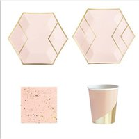 Disposable Dinnerware Party Pack Marble Effect Gold Foil Hexagon Plates Cups Napkins For Birthdays Showers Weddings Celebrations