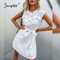 Повседневные платья простые белые хлопчатобумажные платья без рукавов 2021 элегантное лето на шнуровке на шнуровке Office o-шеи a-line Vestidos