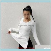 Outfits Exercise Wear Athletic Outdoor Apparel & Outdoorswomens Fitness Yoga Clothes Sports Shirt Loose Women Short-Sleeved Split T-Shirt Br