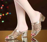 Sandals Women's summer sandals, gold toe, lace, dress, high heels, square women's heels J8RC