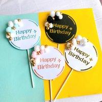 Alles Gute zum Geburtstag Kuchen Werkzeuge Acryl Blume Pelzbälle Papier Brief Cupcake Topper Dekoration Hochzeit Liefert für Kinder und Erwachsene