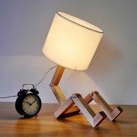 Lampe de bureau en bois de style de pli simple moderne pour salle d'étude de chambre à coucher, abat-jour lampe de table en bois robot Lecture de chevet H0922