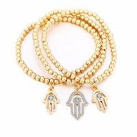 Gold böser auge armband türkisch cz kristall kleine charme hand von hamsa armbänder