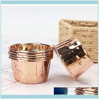 Moulds Bakeware Kitchen, Dining Bar Home & Garden50Pcs Aluminum Foil Muffin Paper Gold Sier Liner Cups Tray Cases Cake Cupcake Wrapper Bakin