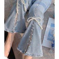 Frauen Jeans Hohe Taille Split Denim Hosen Frauen Elegante Chic Perlen Bowknot Boot Cut Girls Vintage Fairy Sweet Hose