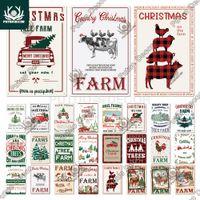 Decoração Putuo Christmas Farm Vintage Tin Sinal Metal Decor Fazenda Fresh 2021New Anyes Presente Xmas Árvore Casa Casa Decoração