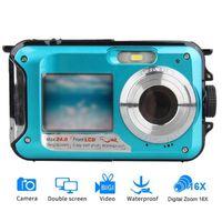 Caméscope vidéo à double écran de caméra numérique sous-marine sous-marine pointe et pousse des caméras dq-gouttes