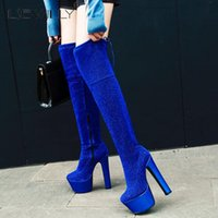 Boots Lsewilly 2021 Sexy Women Over The Knee Elegant Super High Heel 17 Cm Platform Party Club Shoes Woman Big Size 33-44