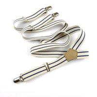 Bretelles Blanc Blanc Hommes 4 Clips métalliques Bretelles élastiques Courroie de pantalon