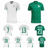 21-22 Futbol Cezayir 7 Mahrez Formalar 9 Bounedjah 10 Feghouli 23 Bolhi 11 Madjer Slimani Ev Beyaz Yeşil Milli Takım Futbol Gömlek Kitleri