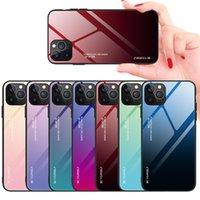 Renkli degrade telefon kılıfları iphone 12 mini 11 pro max temperli cam durumda xr xsmax se 7 8 artı koruyucu kapak
