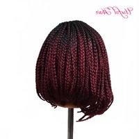 """14 """"24inch synthetische Perücken geflochtene synthetische Spitze Frontperücken Bobo Spitze Perücke mit Baby-Haarperücken für schwarze Frauen Marley-Zöpfe WQELX"""