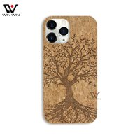 U&I Wholesale Cork Phone Cases For iPhone 7 8 plus 13 11 12 Fashion carving Pattern Waterproof Wooden Cell Cover Shell Mobile Case Custom Blank Shockproof