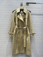Женская траншея 3521 осень с длинным рукавом отворотный шеи куртки дизайнерский бренд же стиль верхняя одежда 0730-27