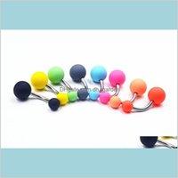 Nave Bell Button Acrílico Candy Color Nave Anel Piercing Piercing Jóias Grind Barble Buttonring Bar Bar Anéis Drop Drop 2021 lztvj