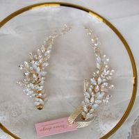 Leii Novide Opal Peink Clip Clip de cristal Horquilla de oro Joyería de oro Boda Pista de peluqueros Barrettes