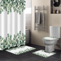Tropical Plants Eucalyptus Leaves Shower Curtain Set Toilet Seat Cover Bathroom Bath Mats Rugs Curtains