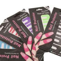 10 STÜCKE in 1 Blatt U-Form Spill-Proof Anti-Overflow-Nagellack-Paint-Lack-Schale Abzieh-Band-Fingerabdeckung Nagelschutz-Aufkleber