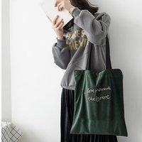 Sacs à bandoulière Velvet imyok Lettre de broderie Sac à provisions Forfait emballage Bandoulière sacs à main sacs à main occasionnels pour femmes