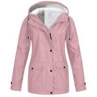 Plus Size Women jacket Coat Fleece Raincoat Autumn Winter warm Rain Coat Waterproof Windproof Hooded Camping Tour Non-disposable