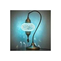 펜던트 램프 터키어 모로코 컬러 모자이크 유리 골동품 램프 오스만 정통 야간 빛 테이블 램프, 침대 옆