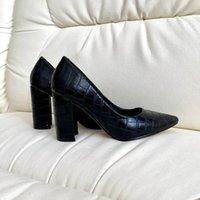 Sapatos de vestido SAPATOS Femininos Com Um Salto de Bloco Confortável (Sapatos Casamento) Cor Branca, Bege, Preto, Cinza, Bombas Clássicas,