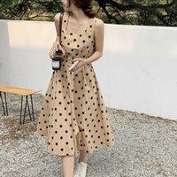 Женское Boho Long Maxi Платье Мода Дамы Голока Print Party Beach Праздник Кнопка Backblob Sundress Без Рукавете Платье без рукавов 210527