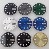Repair Tools & Kits 29mm Steel Green Luminous Marks Sunburst Silver Gold Green  Black Watch Dial Face Fit NH36A Double Date Window