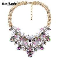 Лучшая леди женская мода заявление красочный цветок Boho Maxi ожерелье Gem цепи роскошный падение бренда ювелирных изделий B334