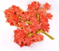 Red maple leaf green gold silver maple leaf skeleton leaves artificial silk leaves artificial maple branch 12pcs lot