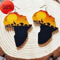 Moda Legno Africa Africa Maptribal Orecchini incisa tropicale Black Women Orecchino vintage retrò legno africano africano accessorio gioielli hiphop