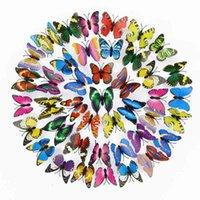 7 cm 200 unids Decoración de mariposa 3D Pegatinas de pared Simulación Stereoscopic Butterflies PVC Pegatinas de pared extraíbles Mariposas DBC BH4689